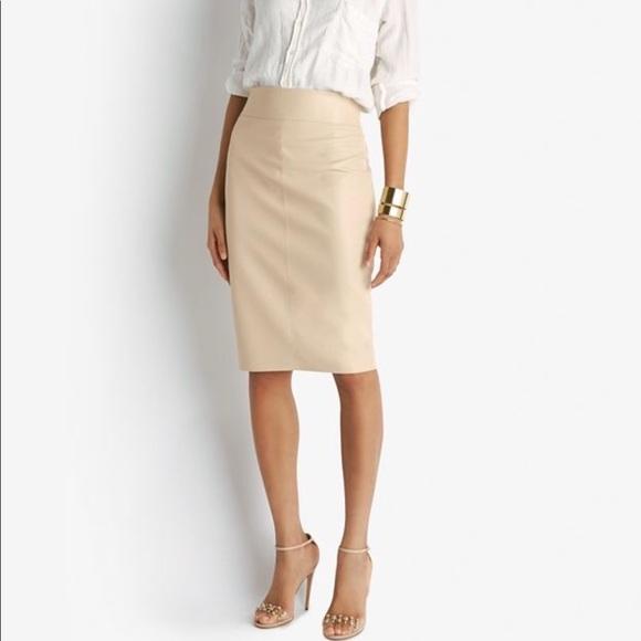 82526c6cb9 Bailey 44 Skirts | Leather Like Pencil Skirt In Nude | Poshmark